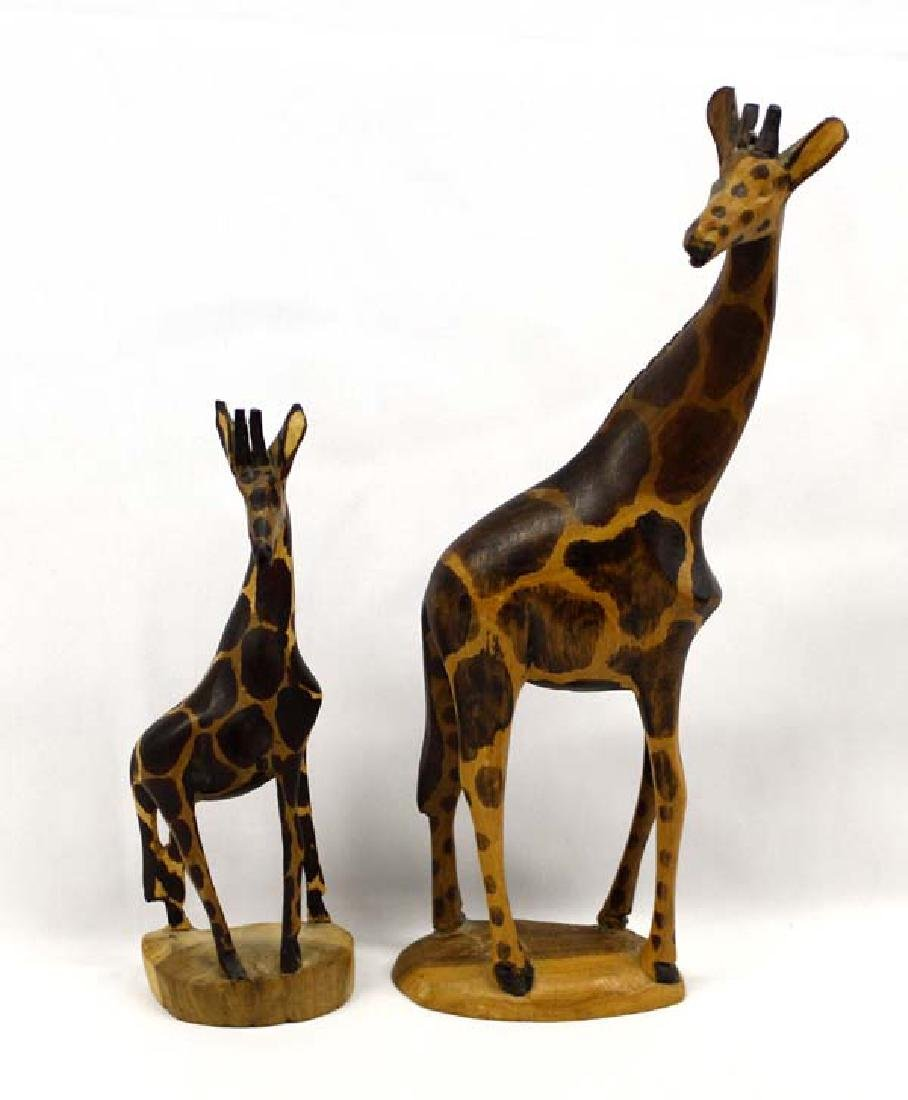 Pair of Hand Carved Wood African Giraffe Statues