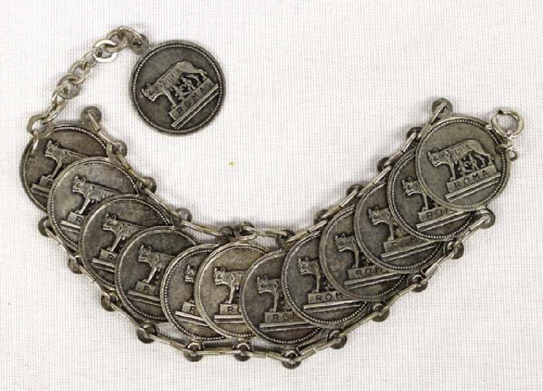 Vintage Roman Coin Souvenir Bracelet