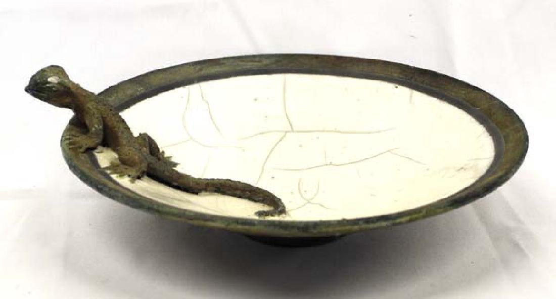 Raku Pottery Lizard Bowl