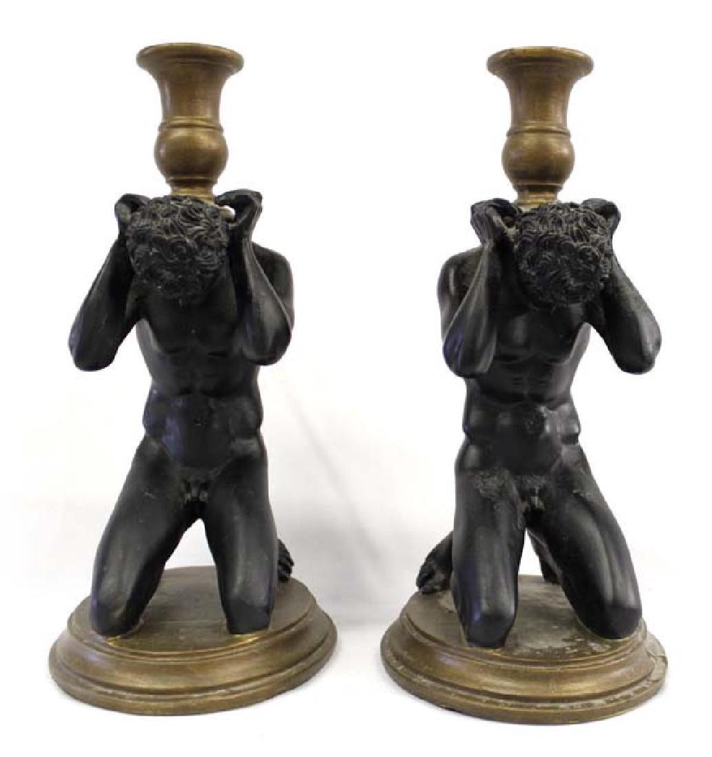 Chinese Tuscano Kneeling  Nude Men Candleholders