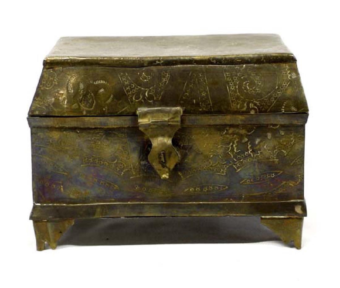 Vintage East Asian Brass Treasure Box