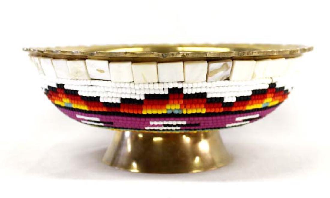 Beautiful Hand Beaded Brass Bowl by Kills Thunder