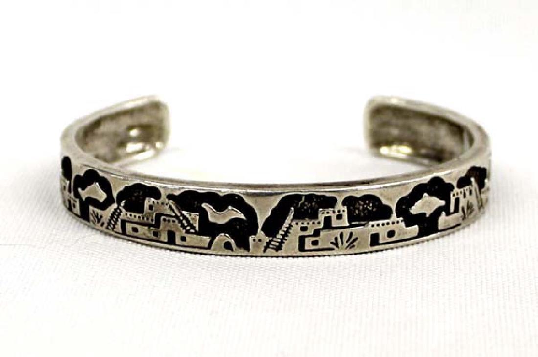 Navajo Sterling Storyteller Cuff Bracelet
