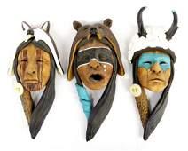 3 Klamath Modoc Ceramic Sculptures by Jim Jackson