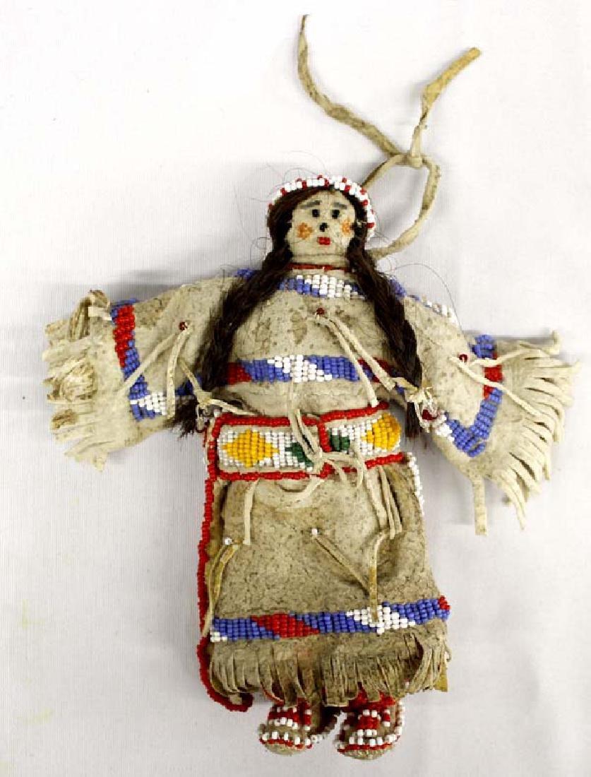 Vintage Native American Beaded Rawhide Doll