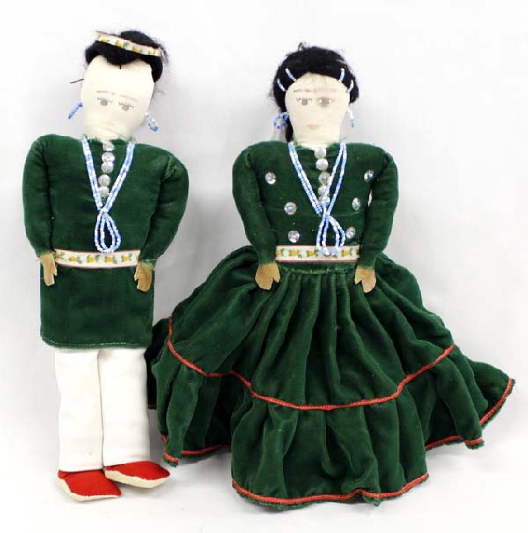 2 Vintage Native American Navajo Cloth Dolls