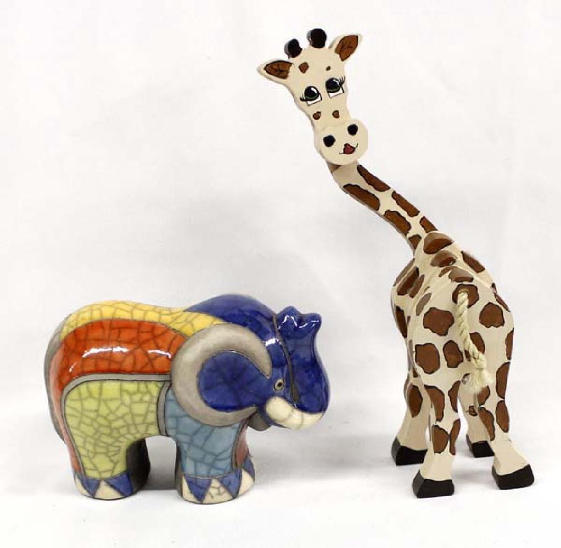 African Wood Giraffe and Raku Pottery Elephant