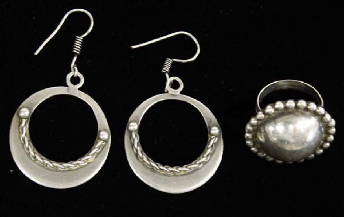 Navajo Sterling Silver Ring and Hoop Earrings