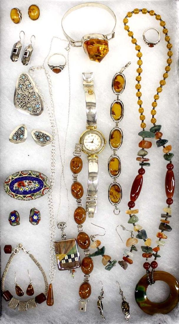 Large Collection of Jewelry, Amber and Silver