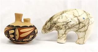 Laguna Pottery Wedding Vase & Navajo Pottery Bear
