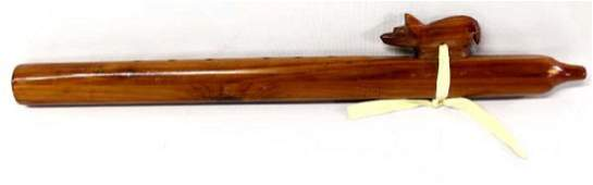 Navajo Carved Cedar Wood Bear Flute