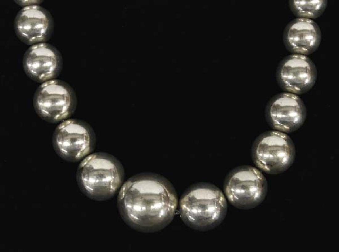 Graduated Sterling Silver Bead Necklace
