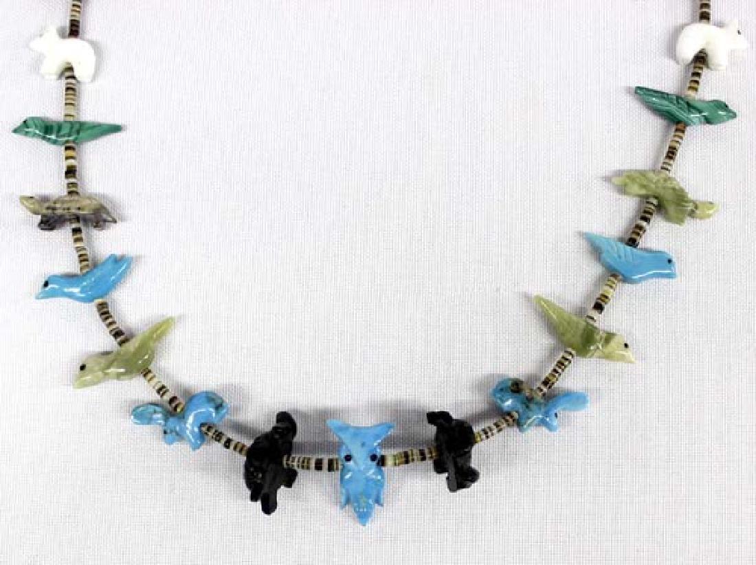 Native American Zuni Animal Fetish Necklace