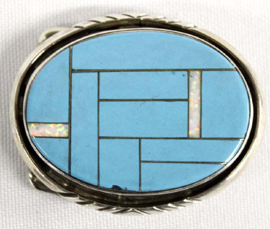 Native American Sterling & Block Turquoise Buckle