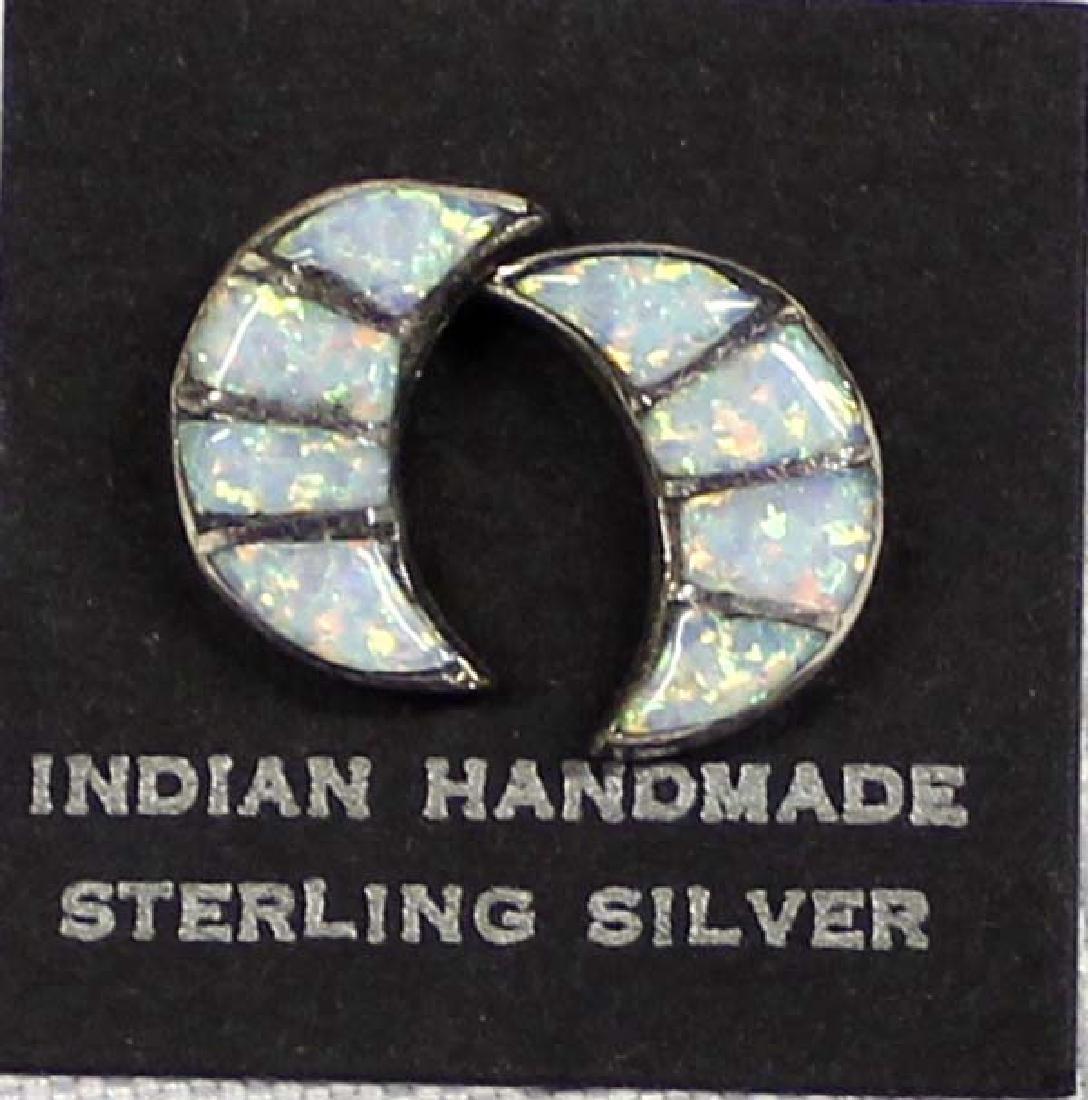 Native American Navajo Sterling Opal Earrings