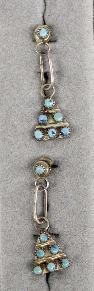 Zuni Sterling Petit Point Turquoise Earrings