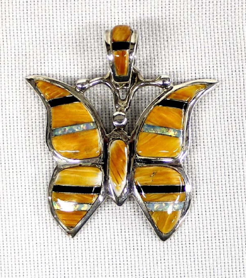 Southwestern Sterling Overlay Butterfly Pendant