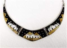Navajo Sterling Silver Micro Inlay Necklace