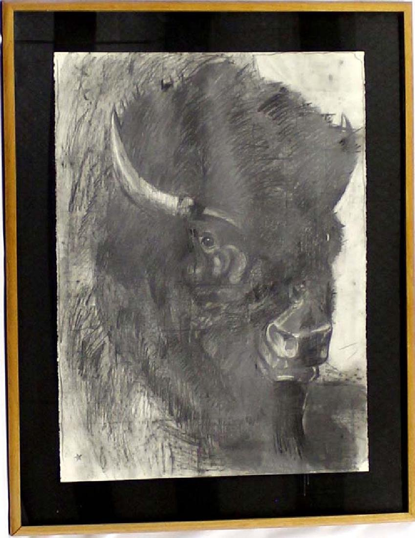 Original Framed Buffalo Pastel by Barbara Sandler
