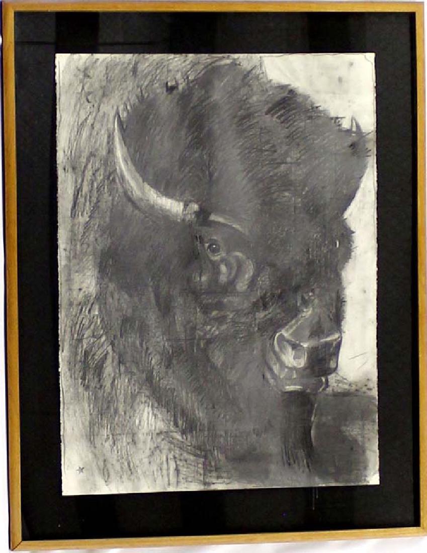 Original Framed Buffalo Pastel by Barbara Sandler
