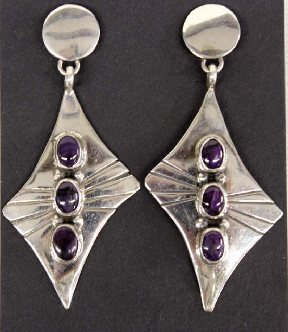 Navajo Sterling Silver & Sugilite Earrings