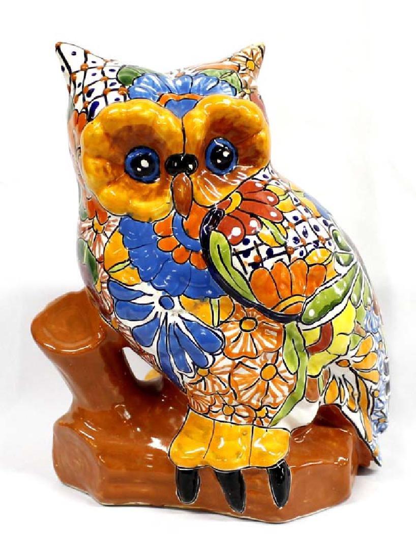 Vintage Mexican Talavera Pottery Owl