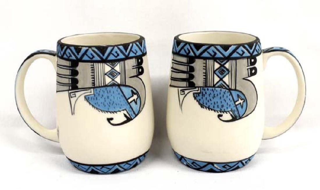 2 Hand Painted Pottery Cups by Merlin