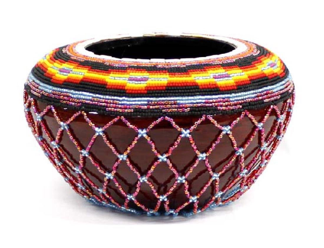 Hand Beaded Wood Bowl by Kathy Kills Thunder