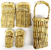 3 Native American Paiute Tule Reed Basketry Pieces