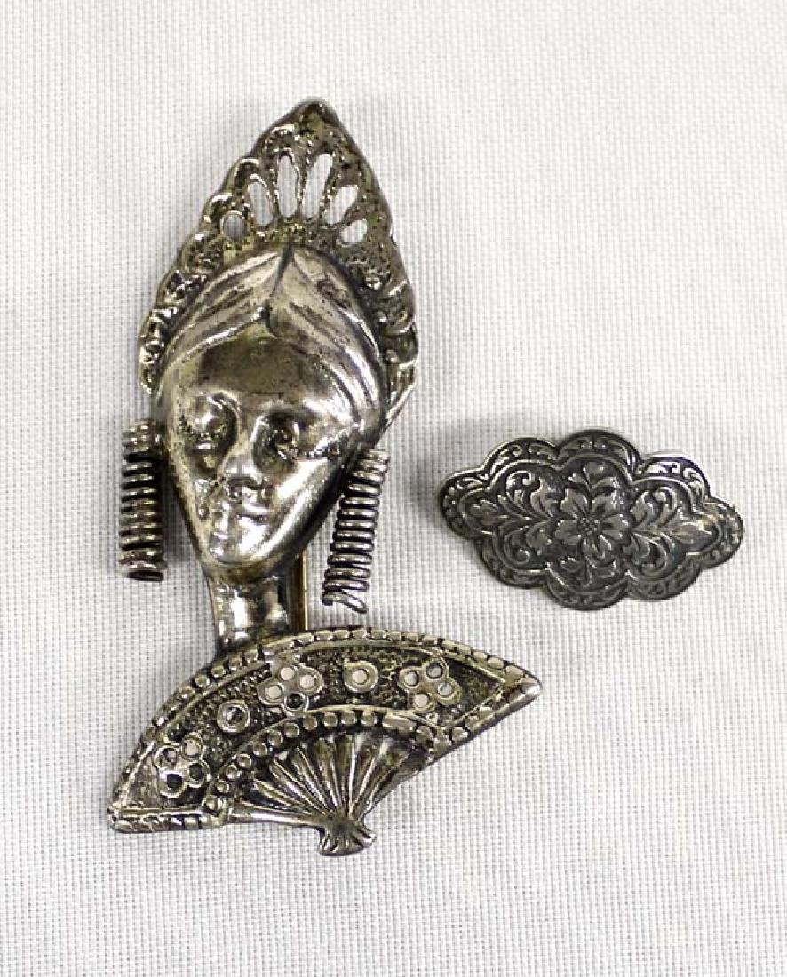2 Estate Sterling Silver Pins