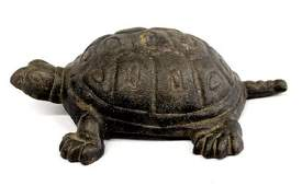 Estate Antique Cast Iron Box Turtle Doorstop