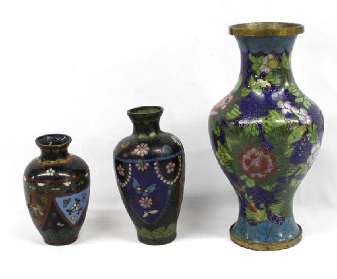 3 Antique Chinese Cloisonne' Vases