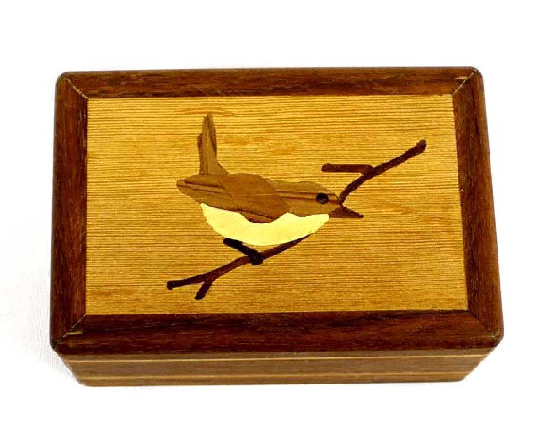 1998 Inlay Wood Bird Design Music Box by B. Naas