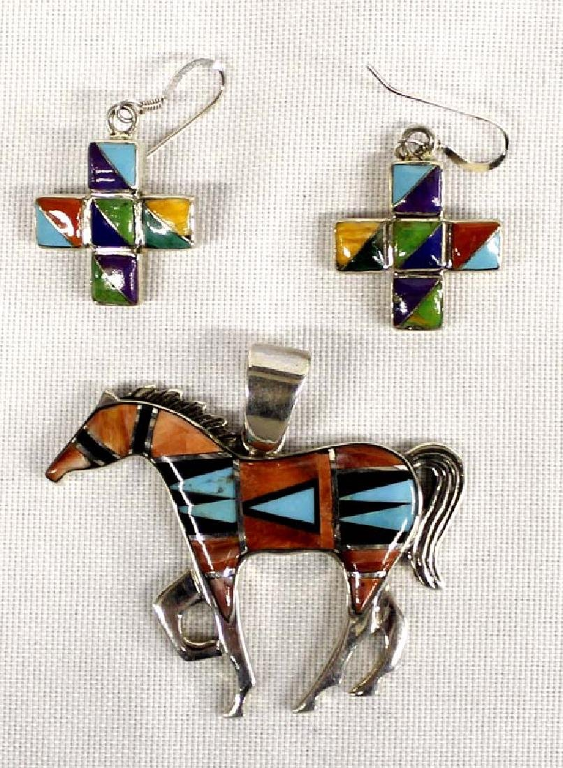Southwestern Sterling Horse Pendant & Earrings