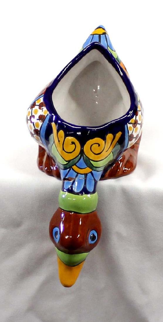 Mexican Glazed Pottery Duck Shelf Sitter