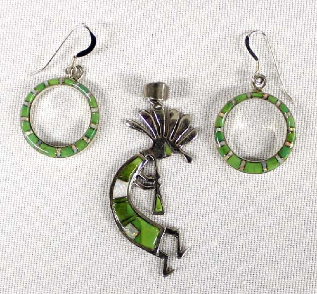 Southwestern Sterling Earrings & Kokopelli Pendant