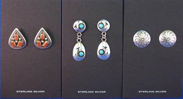 1002: 3 Pair Navajo Sterling Silver Perced Earrings