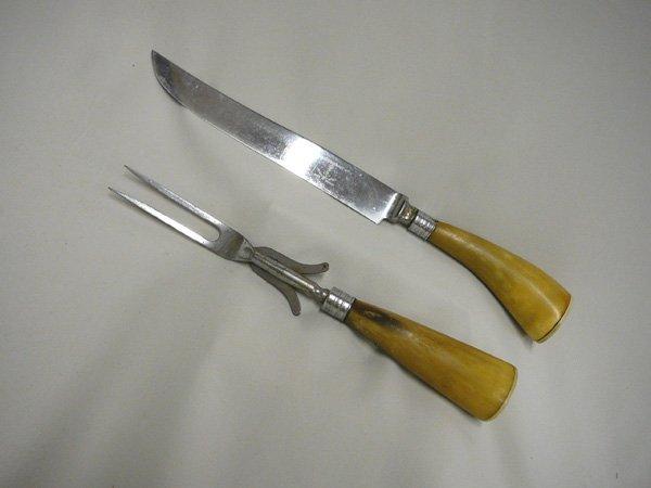 1006: Vintage Swedish Horn Handle Cutlery Set