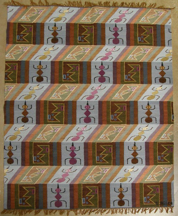 1131: Hand Woven South American Wool Rug by E Sulca