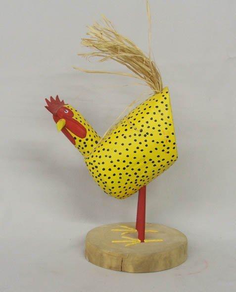 1505: Navajo Folk Art Wood Chicken Signed D Herb