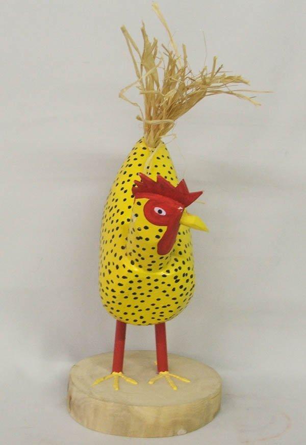 1505: Navajo Folk Art Wood Chicken Signed D Herb - 2