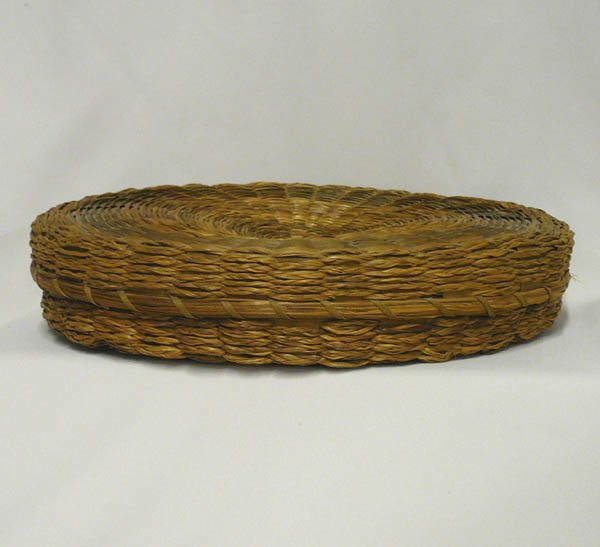 1508: Vintage Sweet Grass Woven Basket With Lid