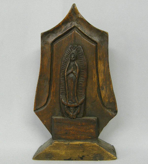 1517: Vintage Carved Wood Our Lady Of Guadalupe Statue