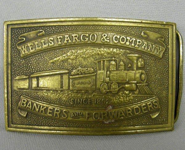 1579: Tiffany Brass Wells Fargo Belt Buckle