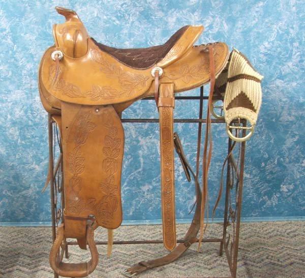 1612: 1970s Fallis Hand Tooled Leather Western Saddle