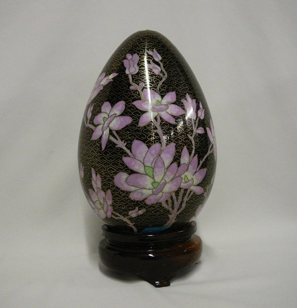 1011: Large Cloisonné Egg on Stand  10''