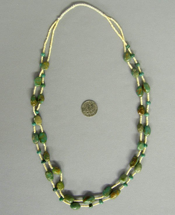 1018: Vintage Green Turquoise Heishi Necklace 30""