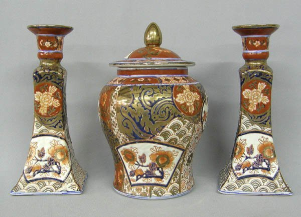 1019: 3 Hand Painted Macao Pottery  & Candlesticks 8""