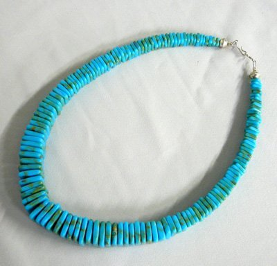 1146: Vintage Navajo Stacked Turquoise Necklace 17''