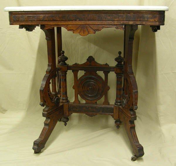 1500: Antique Eastlake Marble Top Walnut Table